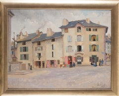French Impressionist painting of village scene in Yssingeaux by Gustave Poetzsch