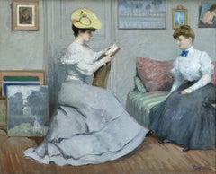 """La Lecture"" Poetzsch C.19th French Impressionist Elegant Figures in Interior"