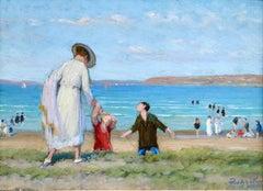 Saint Efflam-Elegant Figures on the Beach - 19th Century Oil, Landscape - Pavil
