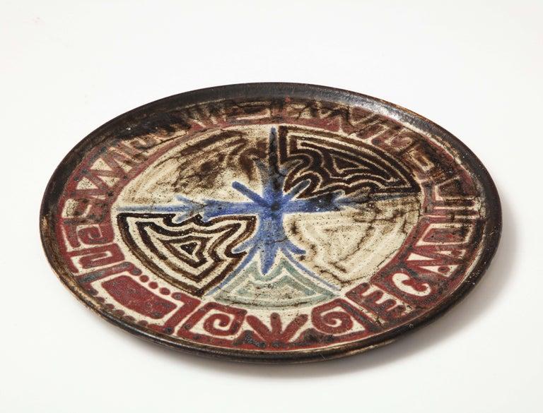 Gustave Raynaud ceramic platter, Vallauris, France, circa 1960s.