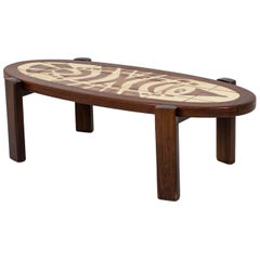 Gustave Raynaud, Coffee Table in Teak and Ceramic, 1960s