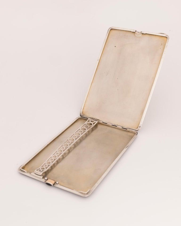 Women's or Men's Gustave-Roger Sandoz, Rare Art Deco Silver and Enamel Cigarette Case, circa 1925 For Sale