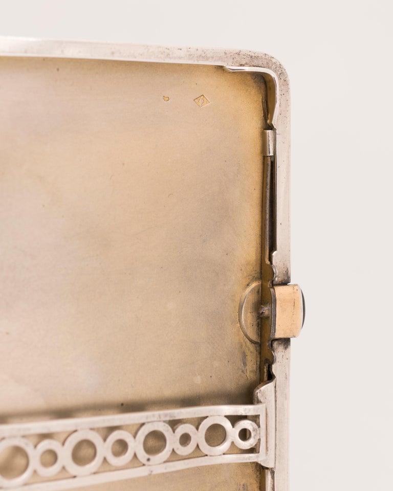 Gustave-Roger Sandoz, Rare Art Deco Silver and Enamel Cigarette Case, circa 1925 For Sale 1