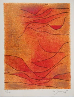Abstract composition in Orange - Original lithograph, Handsigned