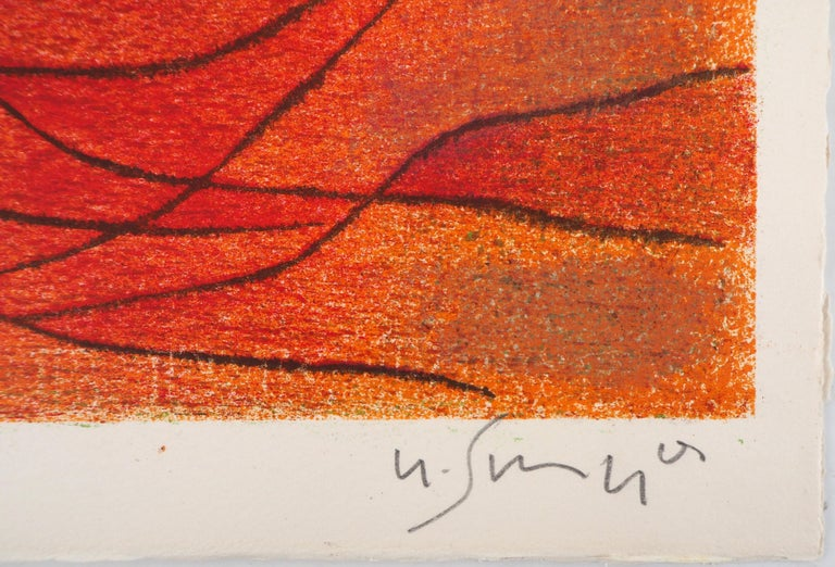 Orange and Red Composition - Original lithograph by G. Singier - 1959 - Abstract Print by Gustave Singier