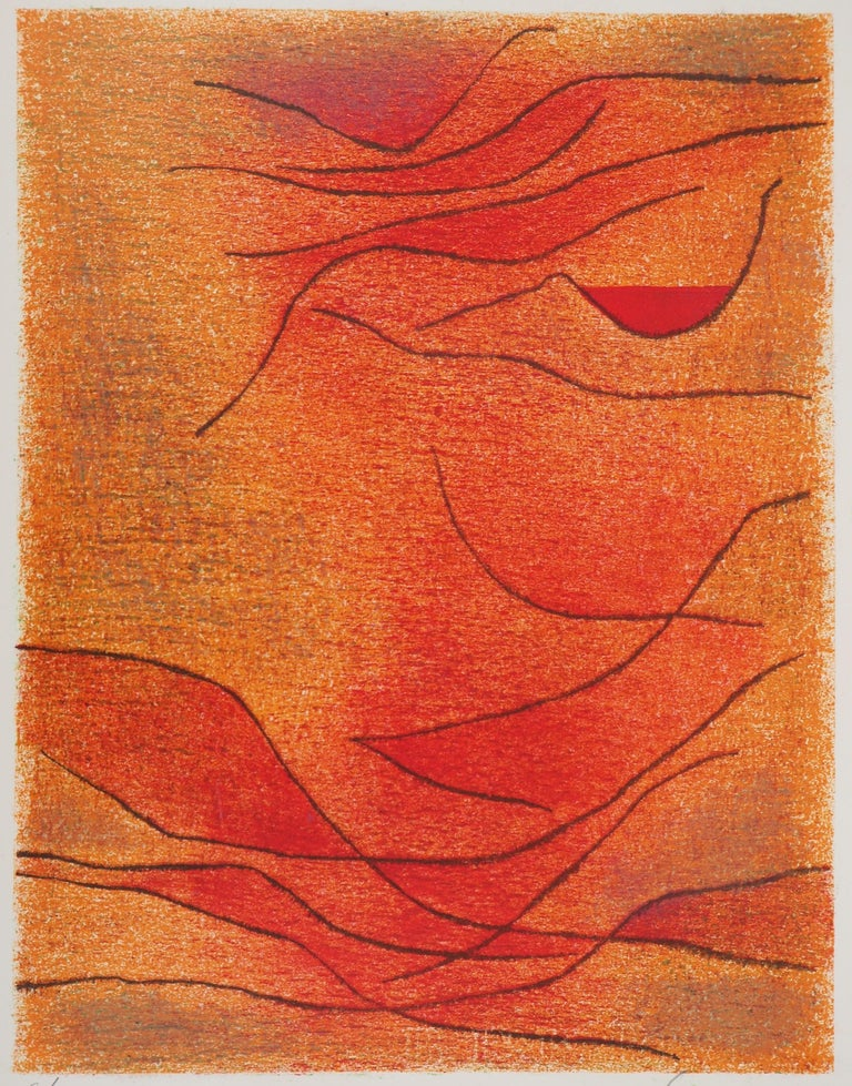 Orange and Red Composition is an original print realized by Gustave Singier in the 1959.  Mixed color lithograph on vellum paper.  Hand-signed in pencil on the lower right. Numbered on the lower left. Edition 6/200.  Beautiful mixed colored