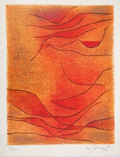 Orange and Red Composition - Original lithograph by G. Singier - 1959