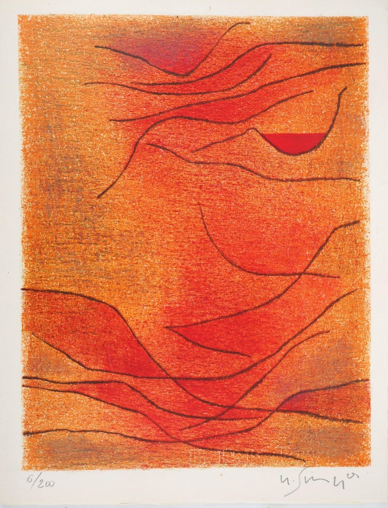 Gustave Singier Abstract Print - Orange and Red Composition - Original lithograph by G. Singier - 1959
