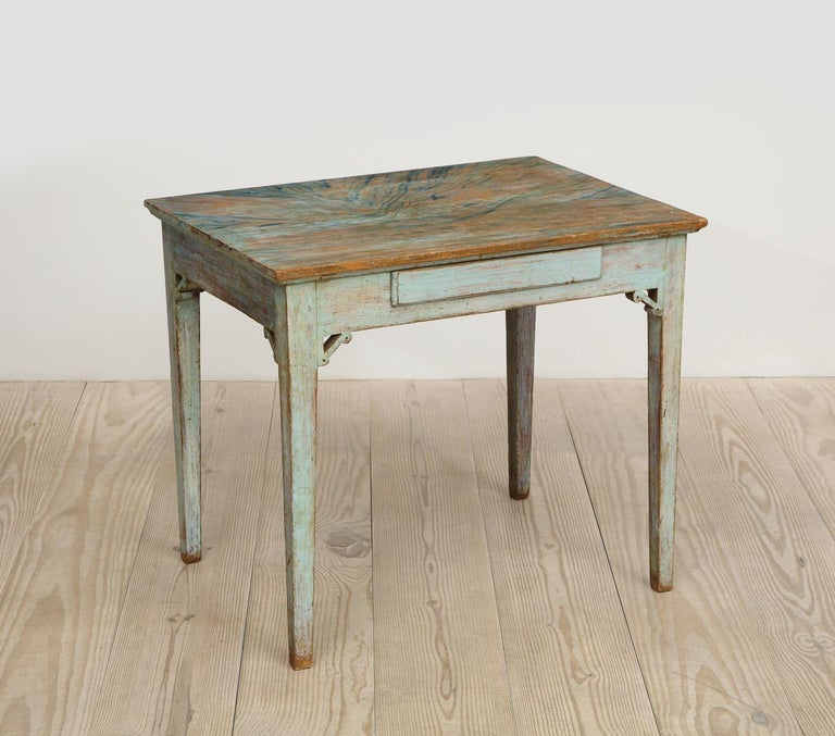 Hand-Painted Gustavian 18th Century Table with Faux Marble-Top Center Drawer, Origin Sweden For Sale