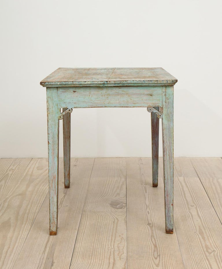 18th Century and Earlier Gustavian 18th Century Table with Faux Marble-Top Center Drawer, Origin Sweden For Sale