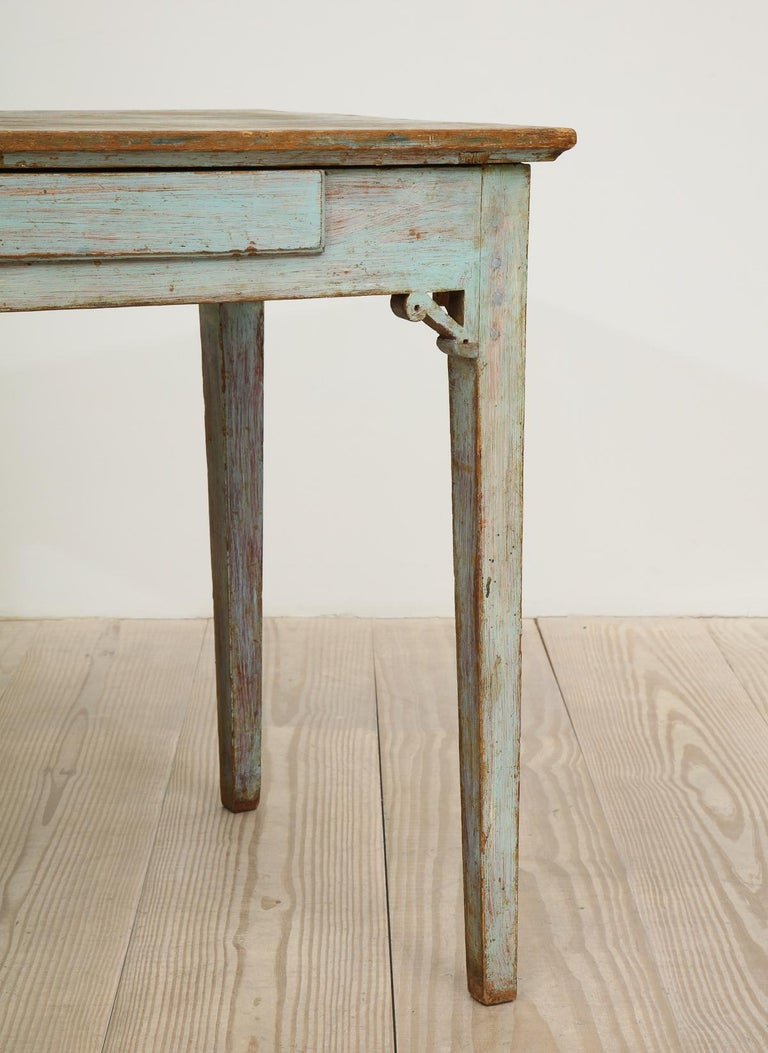 Wood Gustavian 18th Century Table with Faux Marble-Top Center Drawer, Origin Sweden For Sale