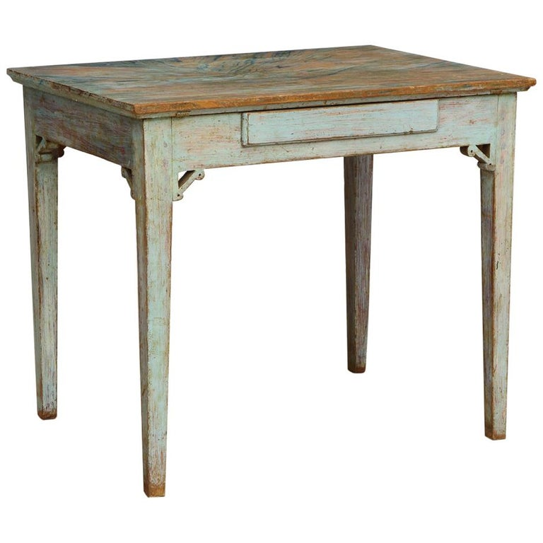 Gustavian 18th Century Table with Faux Marble-Top Center Drawer, Origin Sweden For Sale
