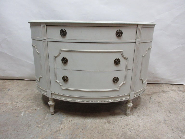 This is a unique Gustavian barrel front chest. It has been fully restored and repainted with milk paints,