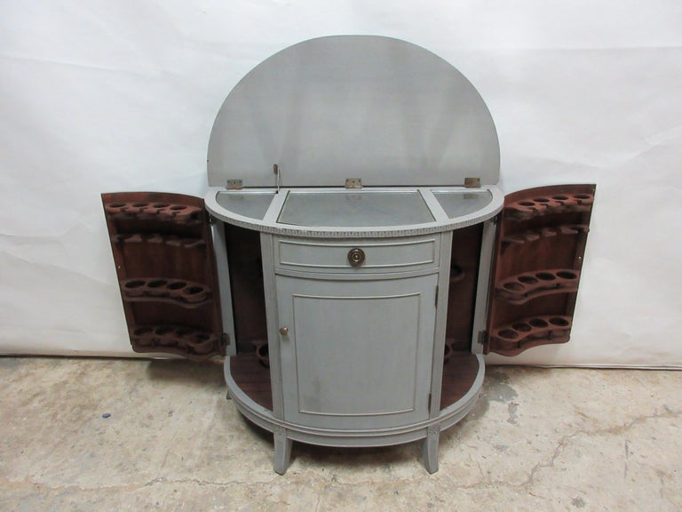 This is a really unique Gustavian barrel front bar. It's been fully restored and repainted with milk paints