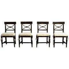 "Gustavian ""Bellman"" Chairs, Set of Four (4), Origin, Sweden, circa 1800"