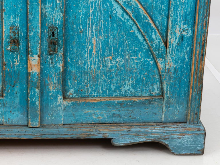20th Century Gustavian Chalk Blue Painted Two-Door Cabinet For Sale