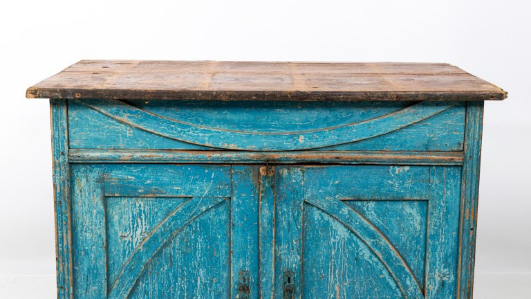 Wood Gustavian Chalk Blue Painted Two-Door Cabinet For Sale