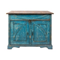 Gustavian Chalk Blue Painted Two-Door Cabinet
