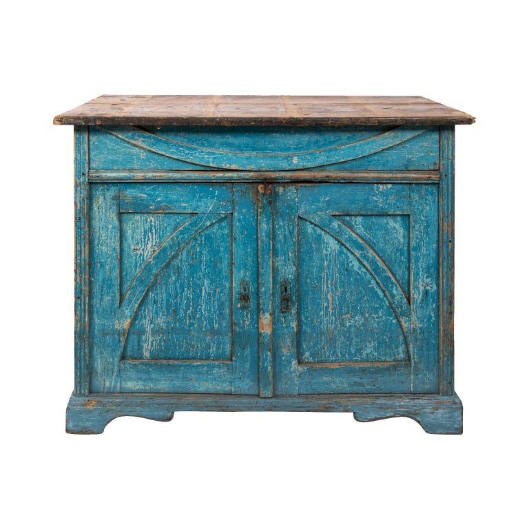Gustavian Chalk Blue Painted Two-Door Cabinet For Sale
