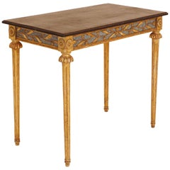 Gustavian Gilt Freestanding Console Table with Black Wood Top