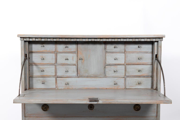 Swedish Gustavian Gray Painted Writing Bureau For Sale