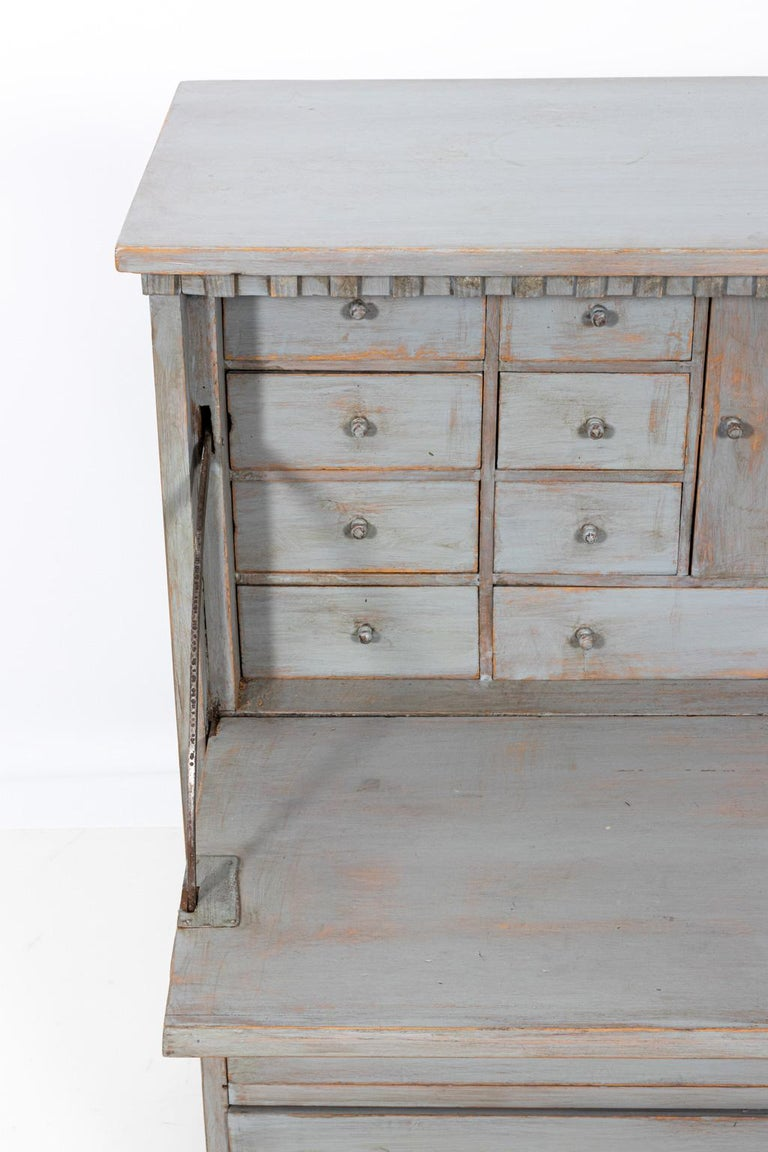 Wood Gustavian Gray Painted Writing Bureau For Sale