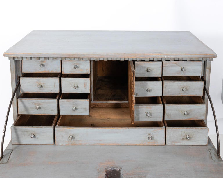 Gustavian Gray Painted Writing Bureau For Sale 1