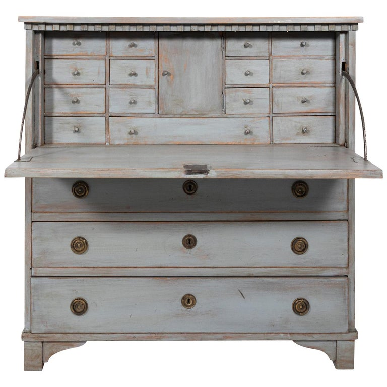Gustavian Gray Painted Writing Bureau For Sale