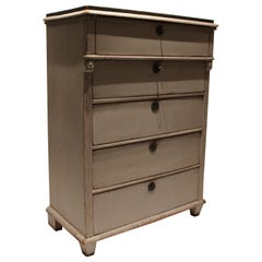 Gustavian Grey Painted Chest of Drawers with Black Topplate, 1830s