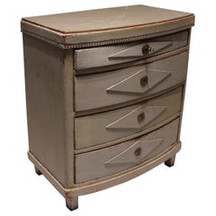 Gustavian Grey Painted Chest of Drawers with Curved Front, 1830s