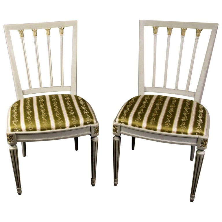 Gustavian Leksand Swedish Dining Chairs Pair in Gilt 20th Century For Sale
