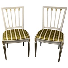 Gustavian Leksand Swedish Dining Chairs Pair in Gilt, 20th Century
