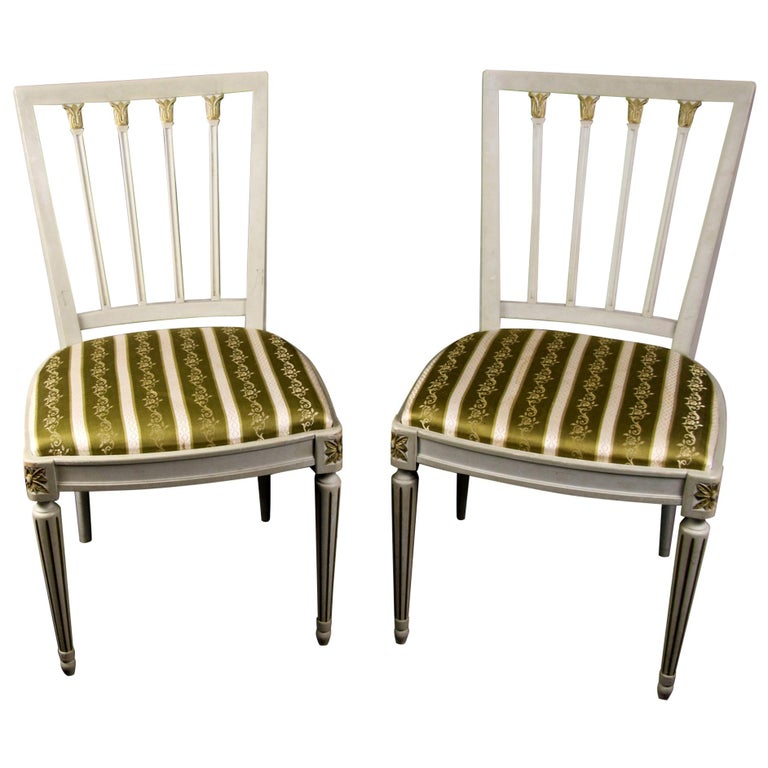Gustavian Leksand Swedish Dining Chairs Pair in Gilt, 20th Century For Sale