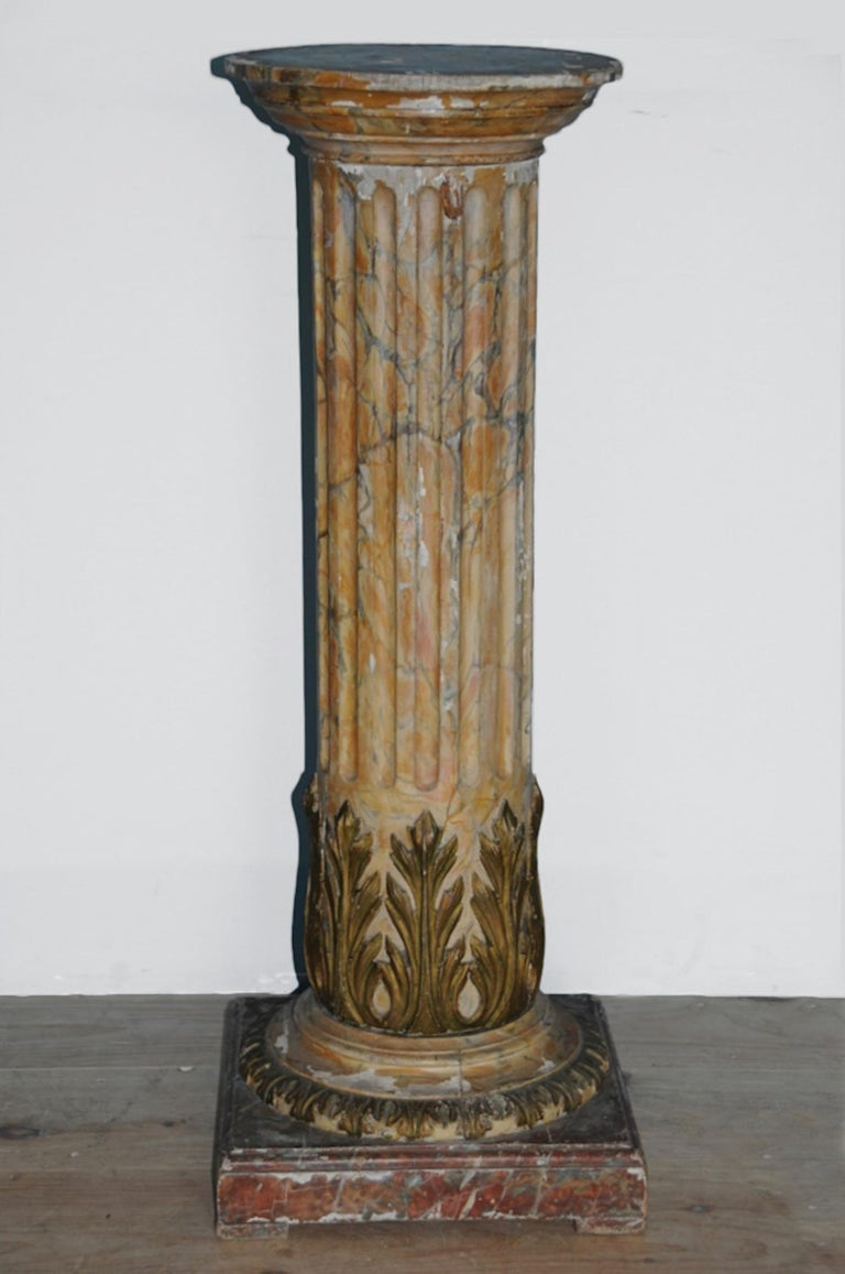 Gustavian, neoclassical 18th century pedestal, origin; Stockholm, Sweden, circa 1780 - 1795, with exceptionally painted, all original faux-marble finishes  Provenance: Private Collection, Stockholm, Sweden; thence by descent