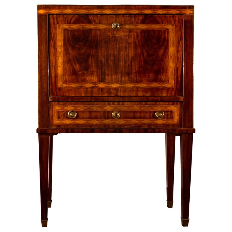 Gustavian Neoclassical Mahogany Writing Chest on High Stand, 1800s For Sale