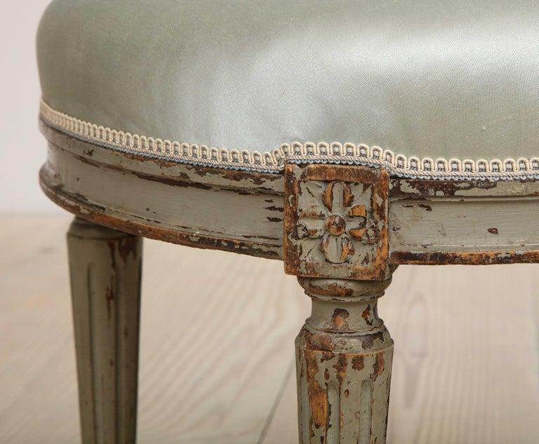 Fir Gustavian Oval Stool, Origin, Sweden, circa 1800 For Sale