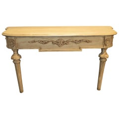 Gustavian Painted Console or Sofa Table with Carved Details