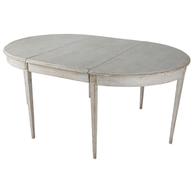 Painted Gustavian Period Extending Dining Table For Sale