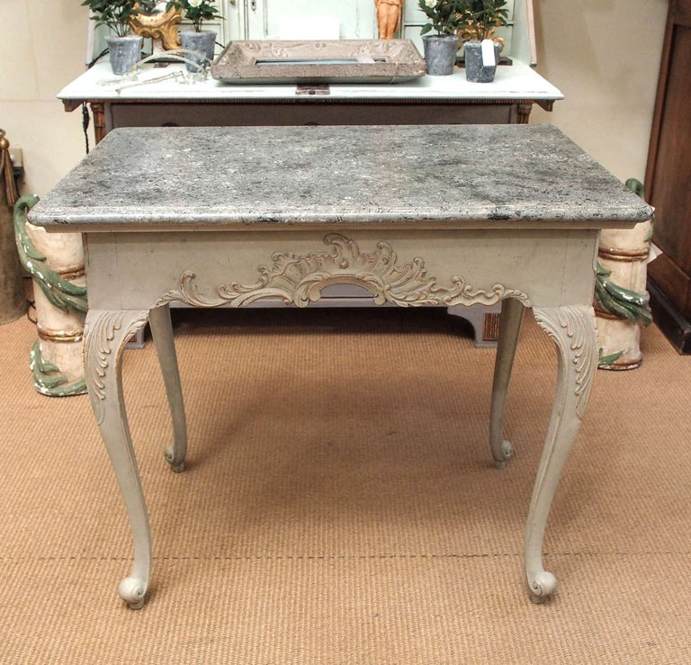 Late 1700s Gustavian style table with faux marble top - beautifully carved, lovely color, and great scale.