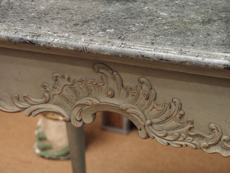 Swedish Gustavian Period Table with Faux Marble-Top, 18th Century For Sale