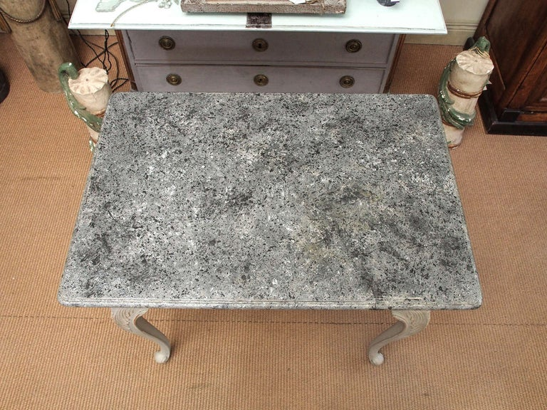 Carved Gustavian Period Table with Faux Marble-Top, 18th Century For Sale
