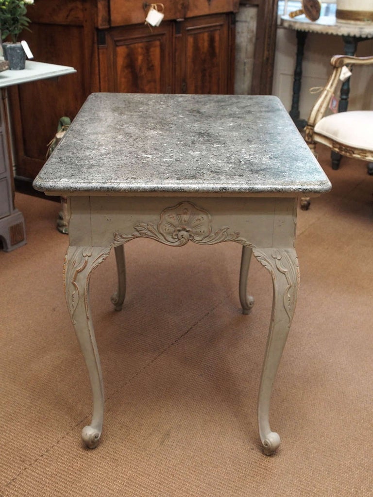 Gustavian Period Table with Faux Marble-Top, 18th Century For Sale 1