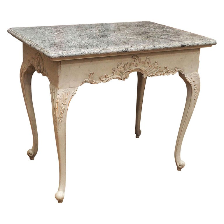 Gustavian Period Table with Faux Marble-Top, 18th Century For Sale