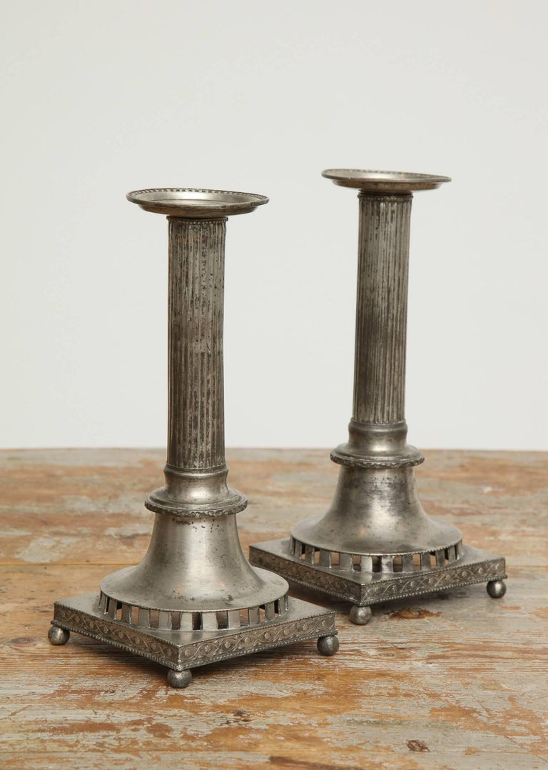 Elegant, Swedish Gustavian neoclassical candlesticks, pair, circa 1800, pewter  We also sell bespoke, handmade white candles; in custom sizes as well.