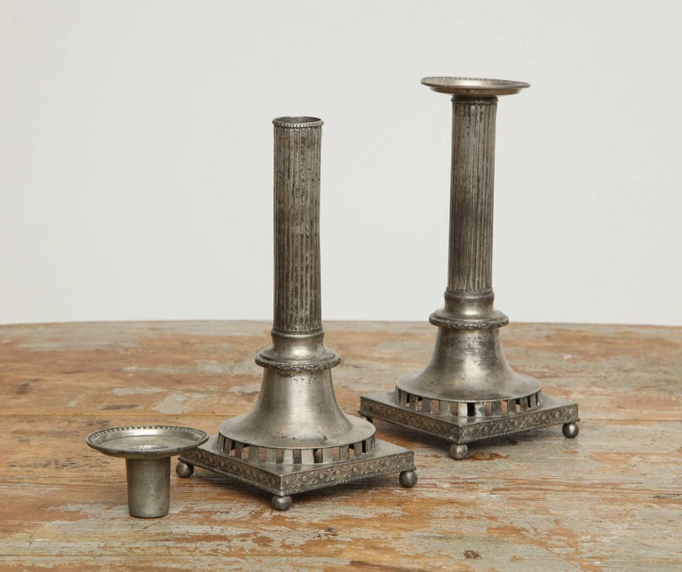 Gustavian Pewter Candlesticks, Pair, Swedish, circa 1800 In Excellent Condition For Sale In New York, NY