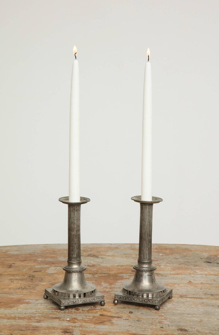18th Century and Earlier Gustavian Pewter Candlesticks, Pair, Swedish, circa 1800 For Sale