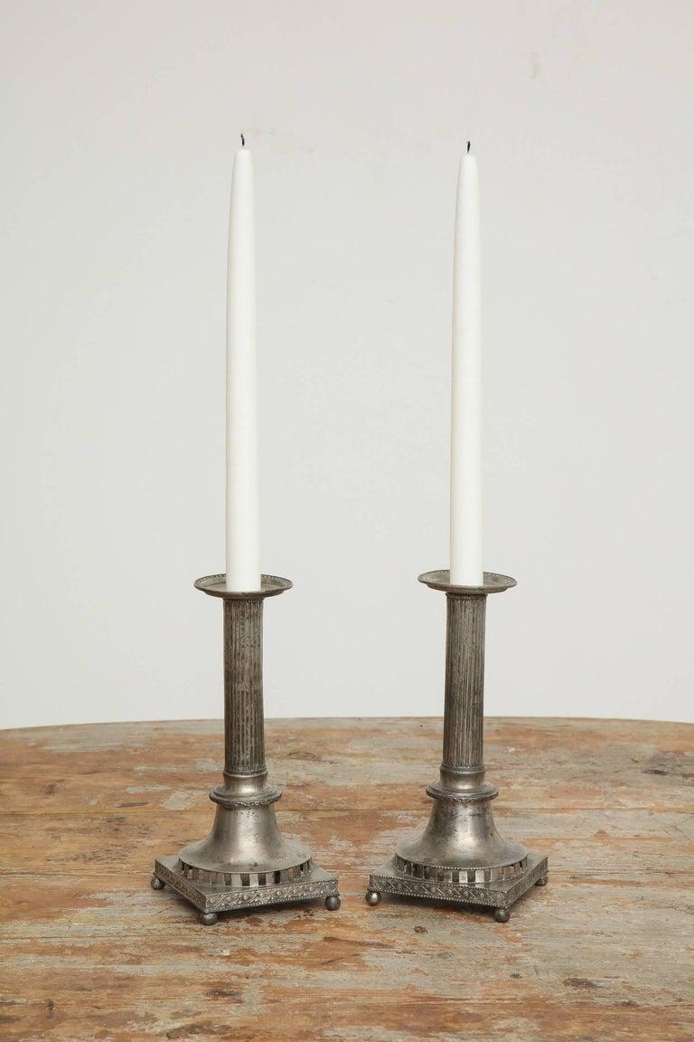 Gustavian Pewter Candlesticks, Pair, Swedish, circa 1800 For Sale 1