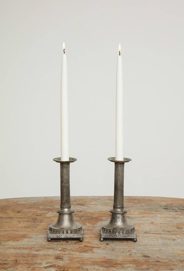 Gustavian Pewter Candlesticks, Pair, Swedish, circa 1800 For Sale 3
