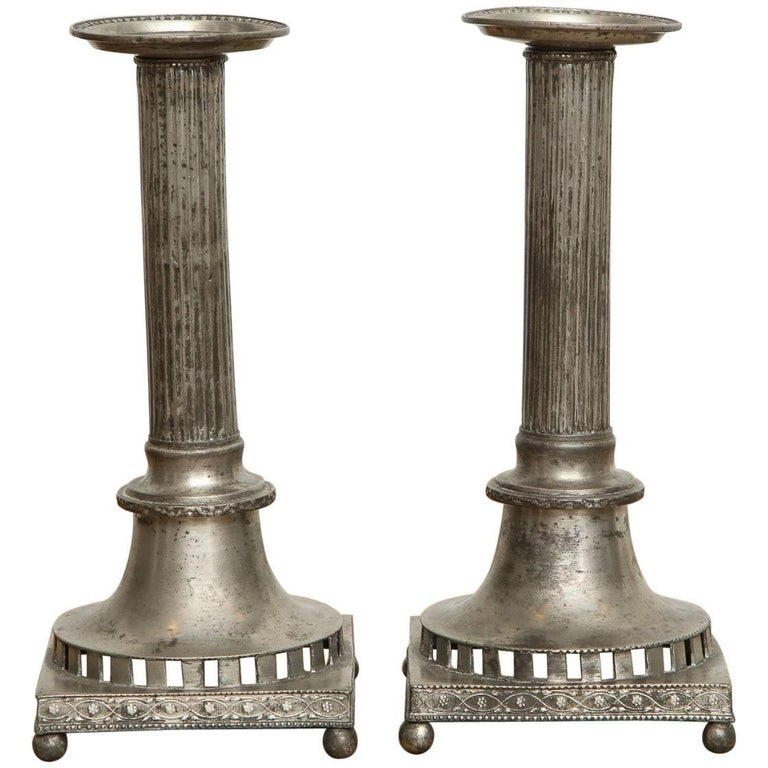 Gustavian Pewter Candlesticks, Pair, Swedish, circa 1800 For Sale