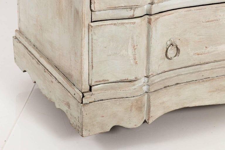 Painted Gustavian Serpentine Chest of Drawers For Sale